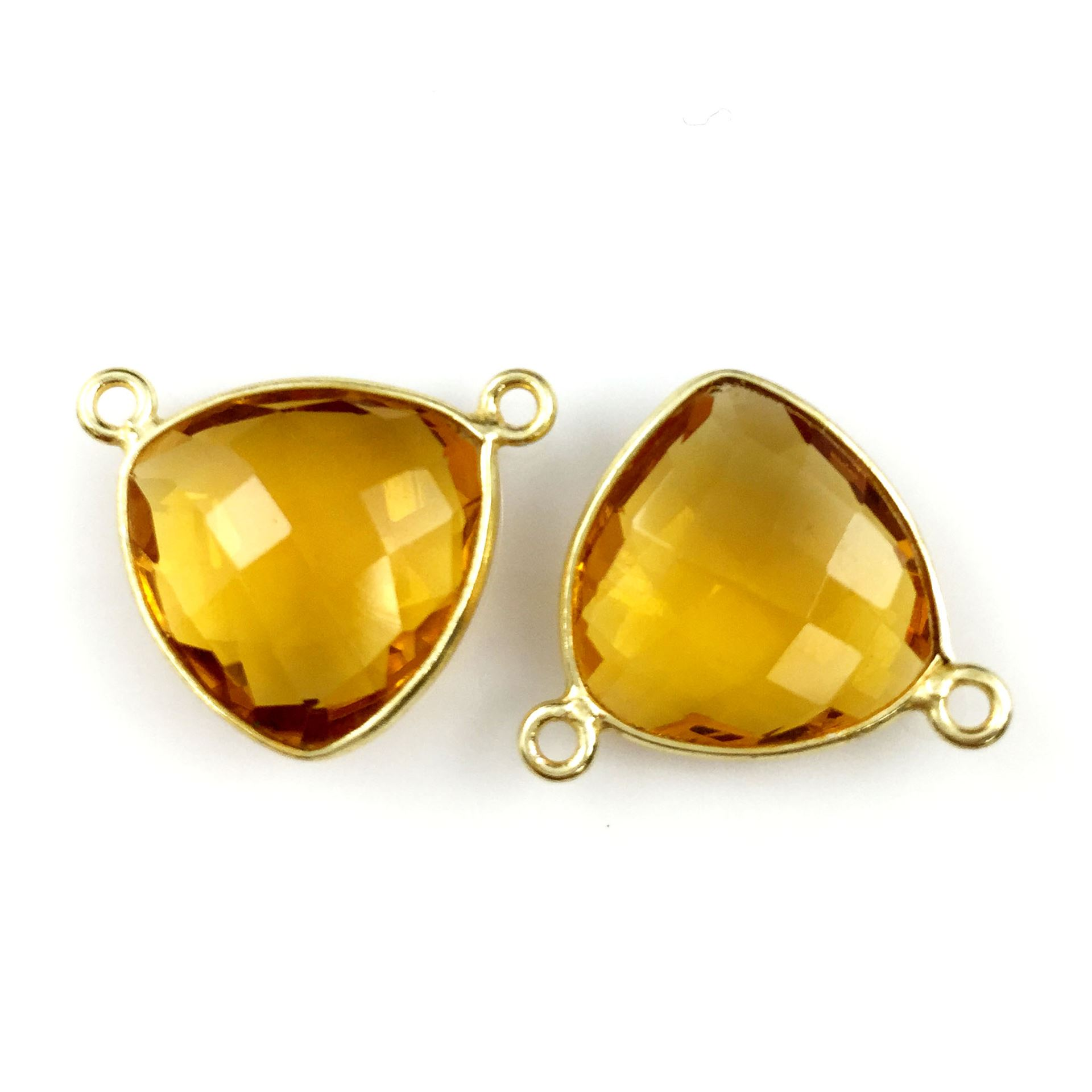 Bezel Gemstone Connector Pendant - Citrine Quartz - Gold plated Sterling Silver - Small Trillion Shaped Faceted - 15mm - 1 piece