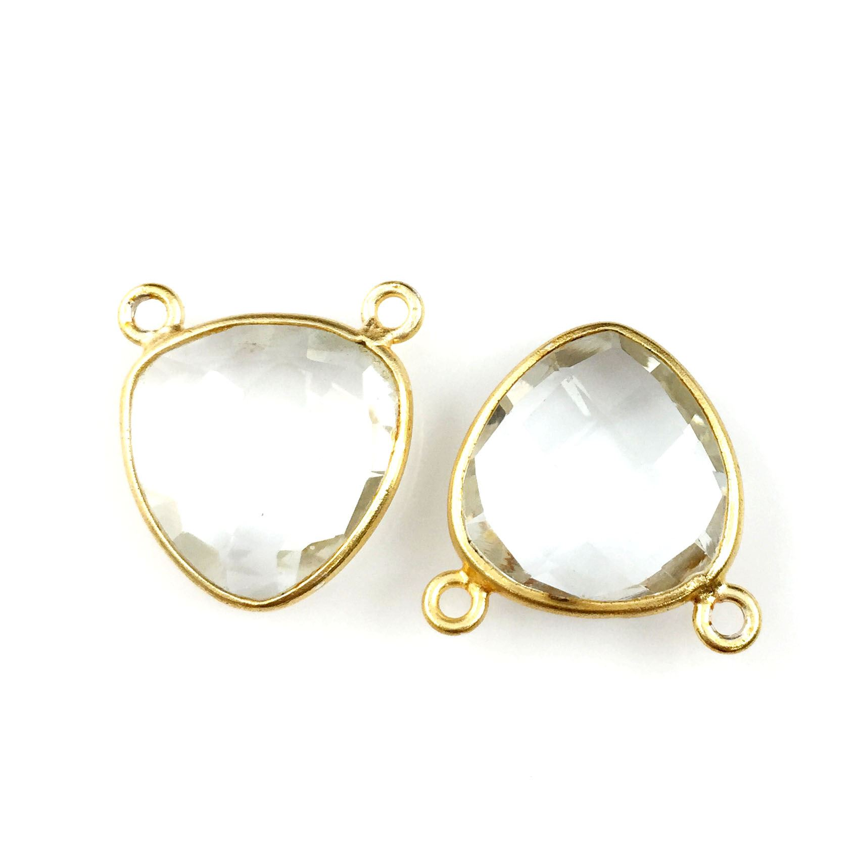 Bezel Gemstone Connector Pendant - Crystal Quartz - Gold plated Sterling Silver - Small Trillion Shaped Faceted - 15mm - 1 piece