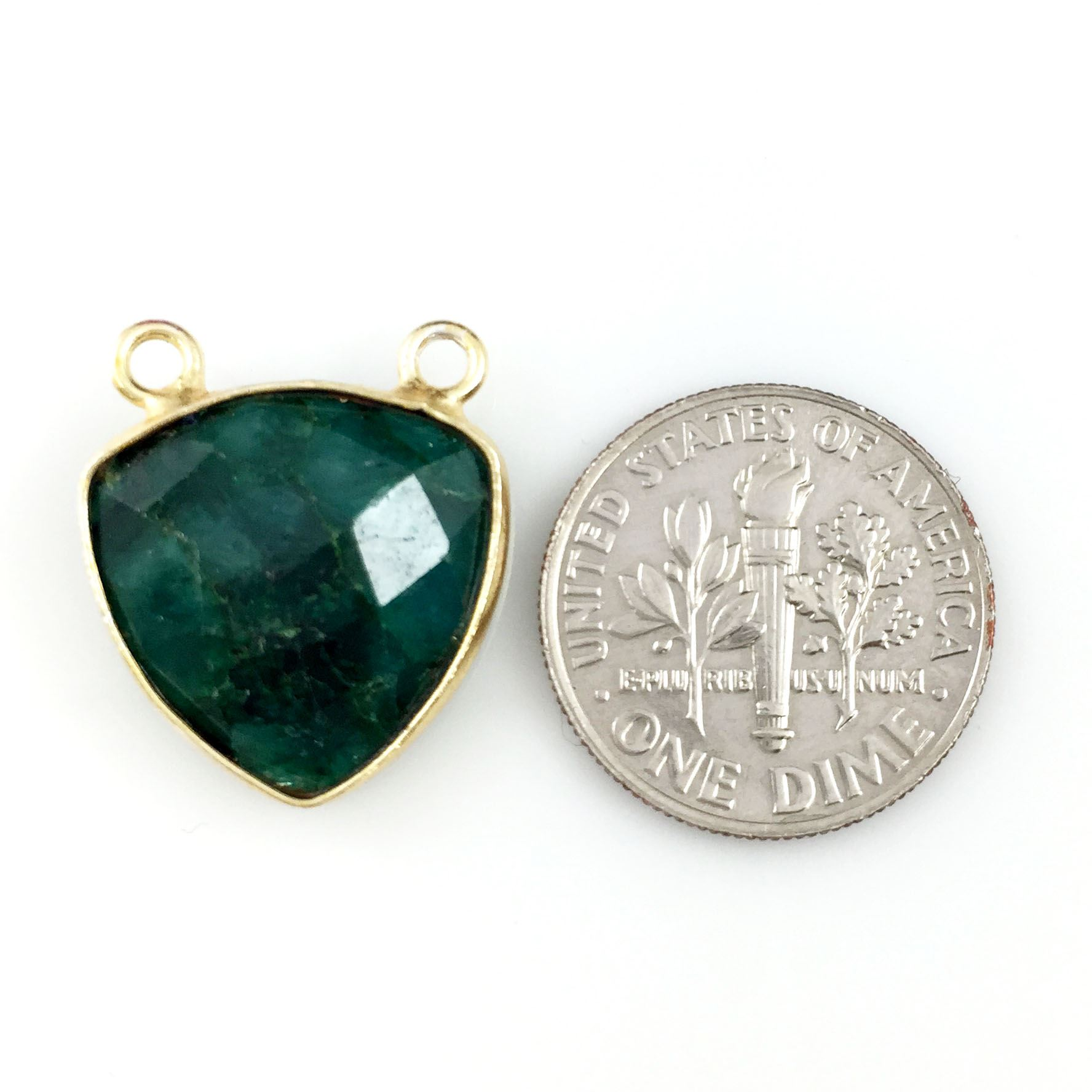Bezel Gemstone Connector Pendant - Emerald Dyed - Gold plated Sterling Silver - Small Trillion Shaped Faceted - 15mm - 1 piece