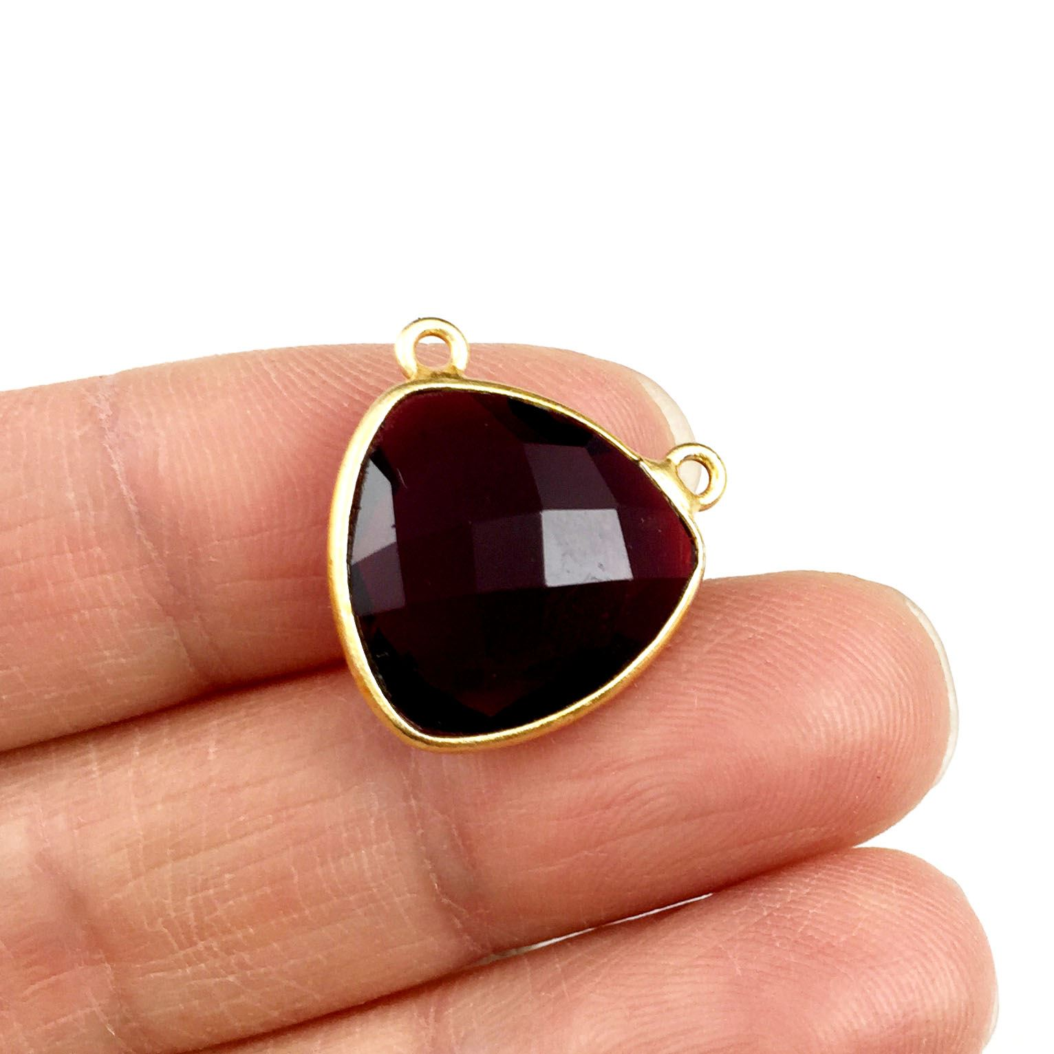 Bezel Gemstone Connector Pendant - Garnet Quartz - Gold plated Sterling Silver - Small Trillion Shaped Faceted - 15mm - 1 piece
