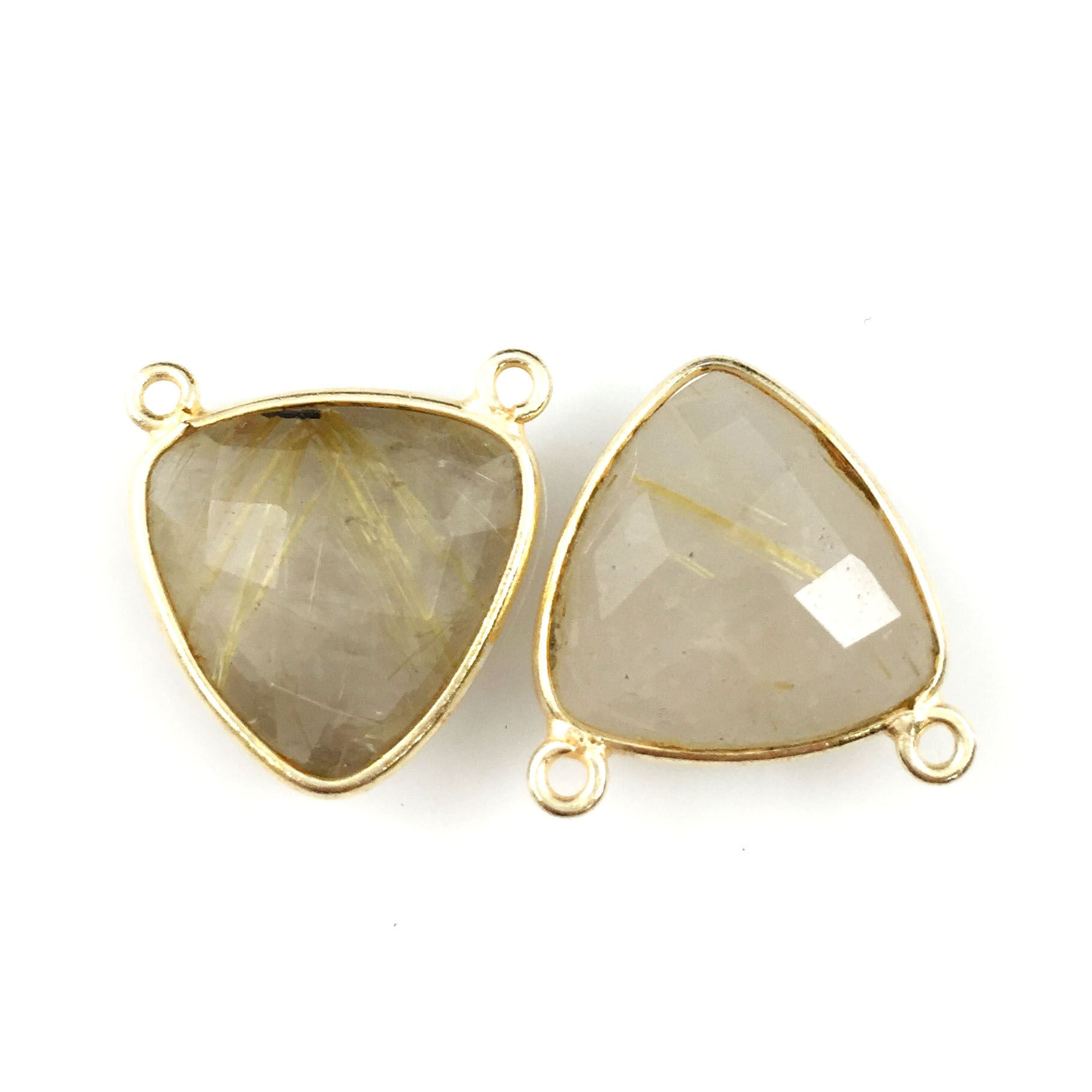 Bezel Gemstone Connector Pendant - Gold Rutilated Quartz - Gold plated Sterling Silver - Small Trillion Shaped Faceted - 15mm - 1 piece