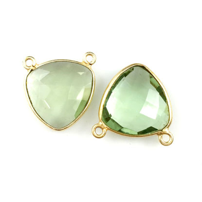 Bezel Gemstone Connector Pendant - Green Amethyst Quartz - Gold plated Sterling Silver - Small Trillion Shaped Faceted - 15mm - 1 piece