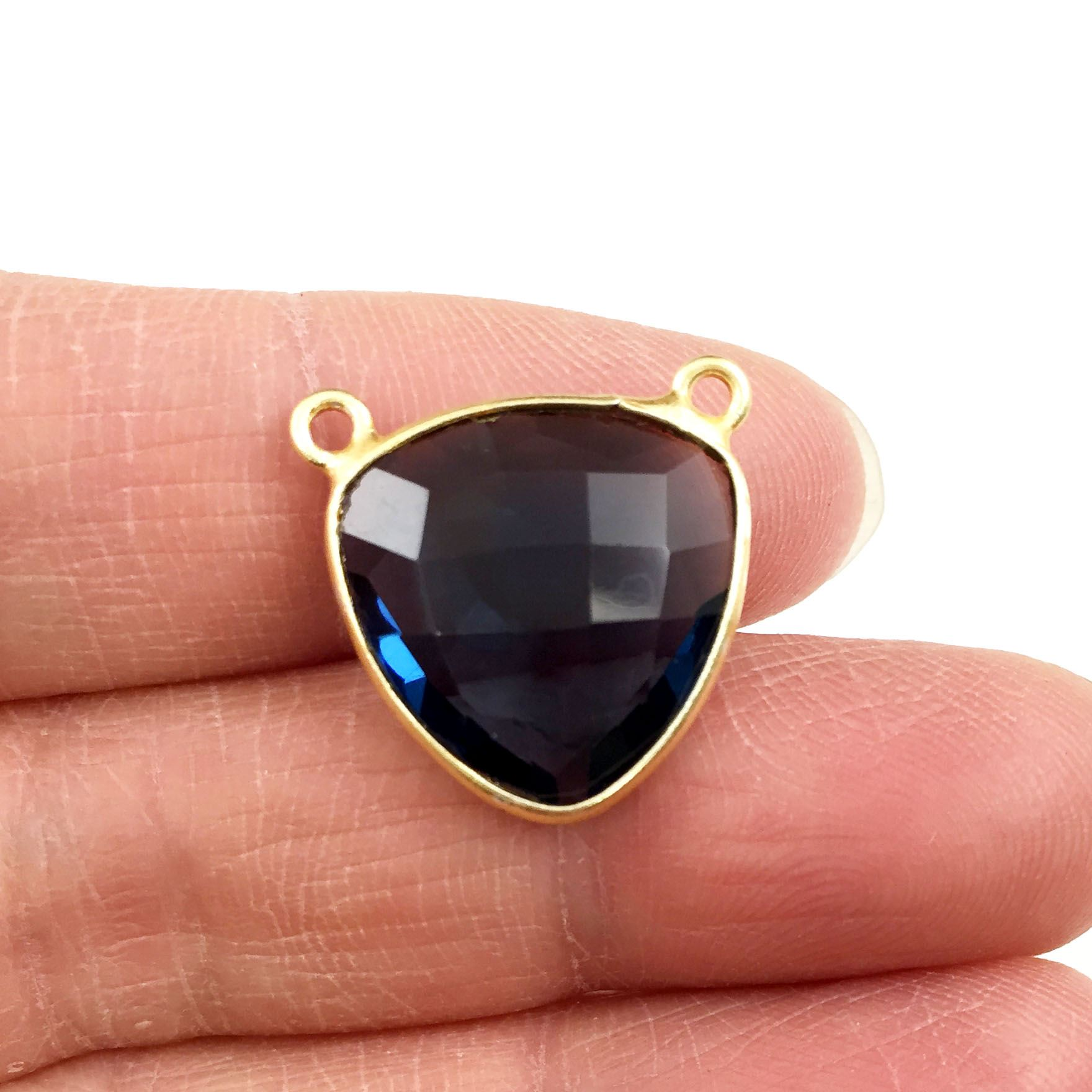 Bezel Gemstone Connector Pendant - Iolite Quartz - Gold plated Sterling Silver - Small Trillion Shaped Faceted - 15mm - 1 piece