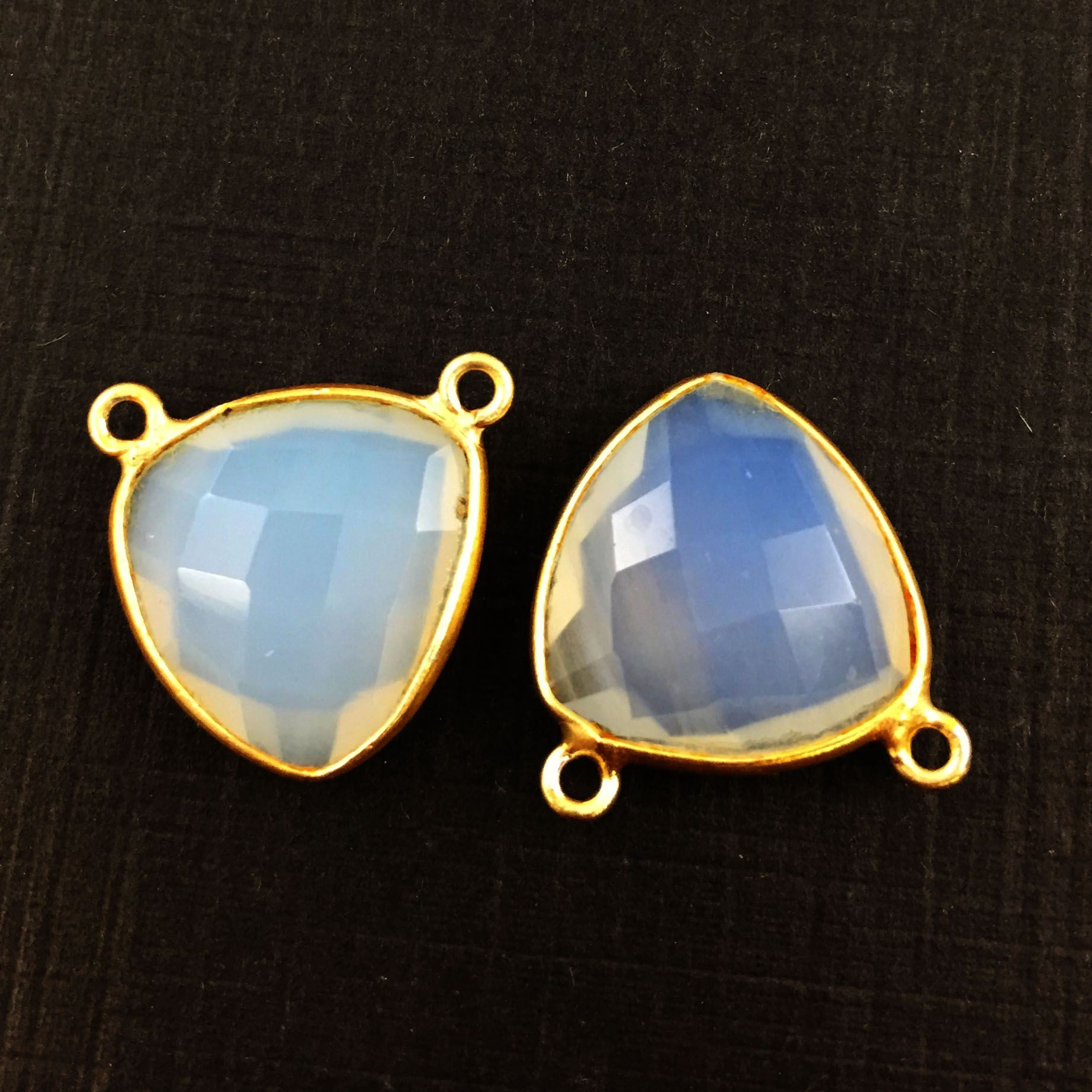 Bezel Gemstone Connector Pendant - Opalite Quartz - Gold plated Sterling Silver - Small Trillion Shaped Faceted - 15mm - 1 piece