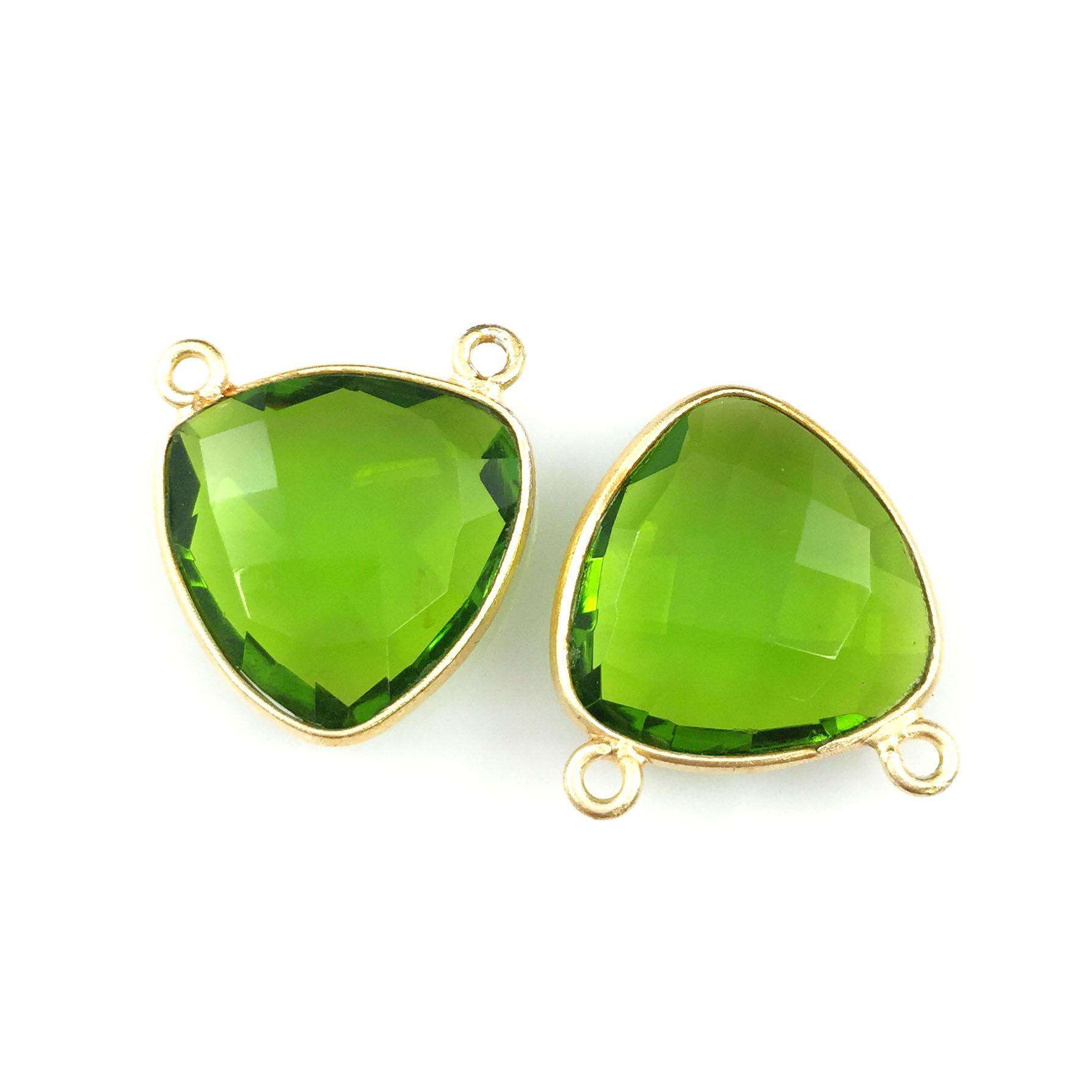 Bezel Gemstone Connector Pendant - Peridot Quartz - Gold plated Sterling Silver - Small Trillion Shaped Faceted - 15mm - 1 piece