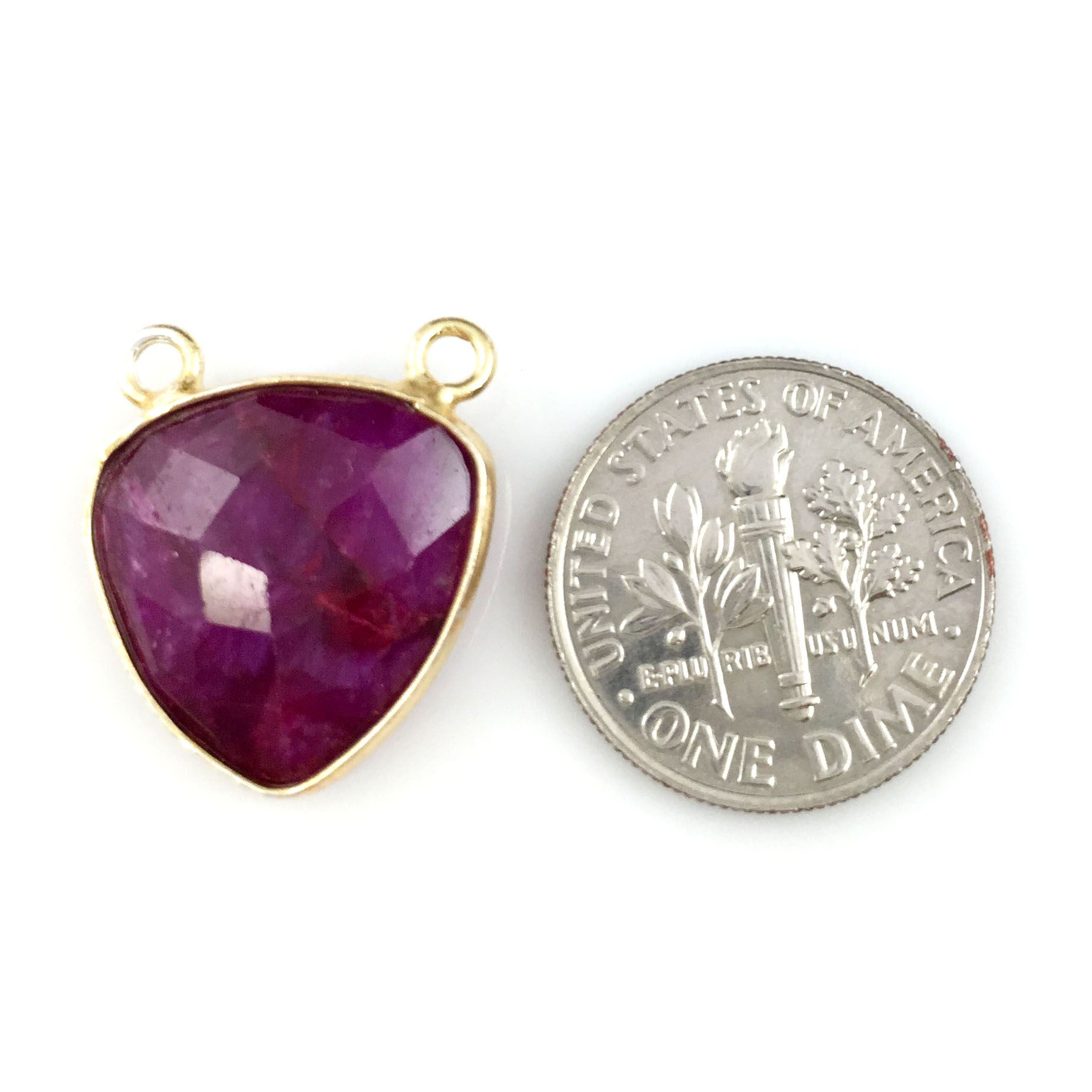 Bezel Gemstone Connector Pendant - Ruby Dyed - Gold plated Sterling Silver - Small Trillion Shaped Faceted - 15mm - 1 piece