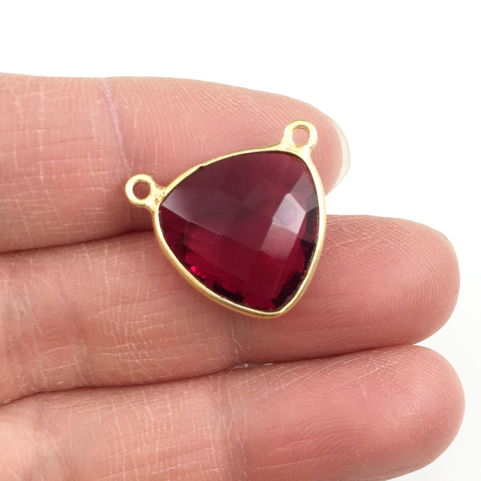 Bezel Gemstone Connector Pendant - Rubylite Quartz - Gold plated Sterling Silver - Small Trillion Shaped Faceted - 15mm - 1 piece