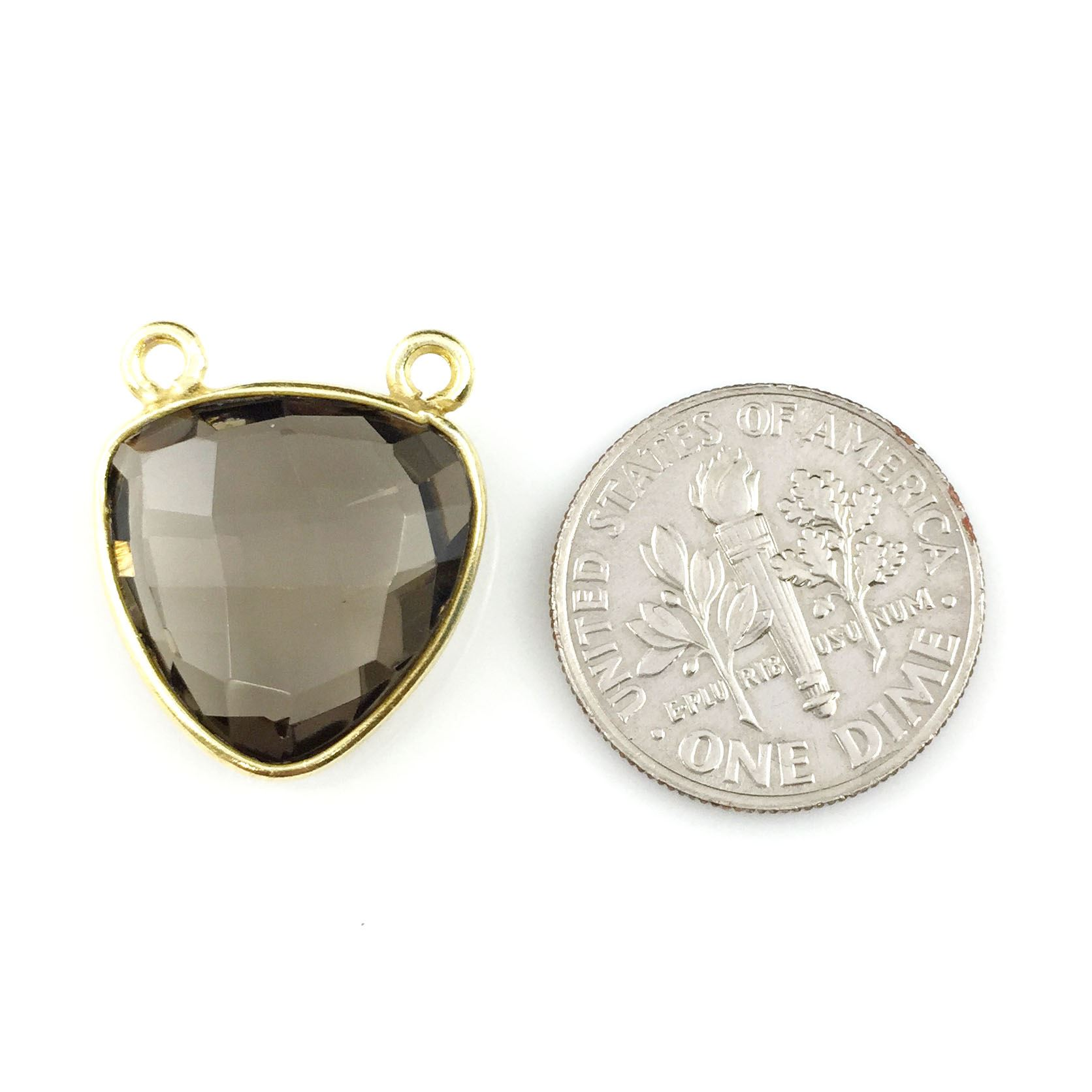 Bezel Gemstone Connector Pendant - Smokey Quartz - Gold plated Sterling Silver - Small Trillion Shaped Faceted - 15mm - 1 piece