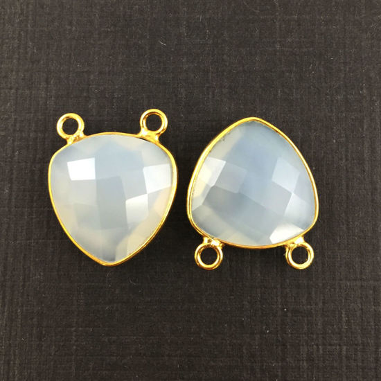 Bezel Gemstone Connector Pendant - White Chalcedony - Gold plated Sterling Silver - Small Trillion Shaped Faceted - 15mm - 1 piece