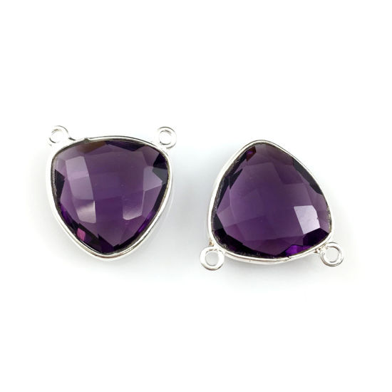 Bezel Gemstone Connector Pendant - Amethyst Quartz - Sterling Silver - Small Trillion Shaped Faceted - 15mm - 1 piece