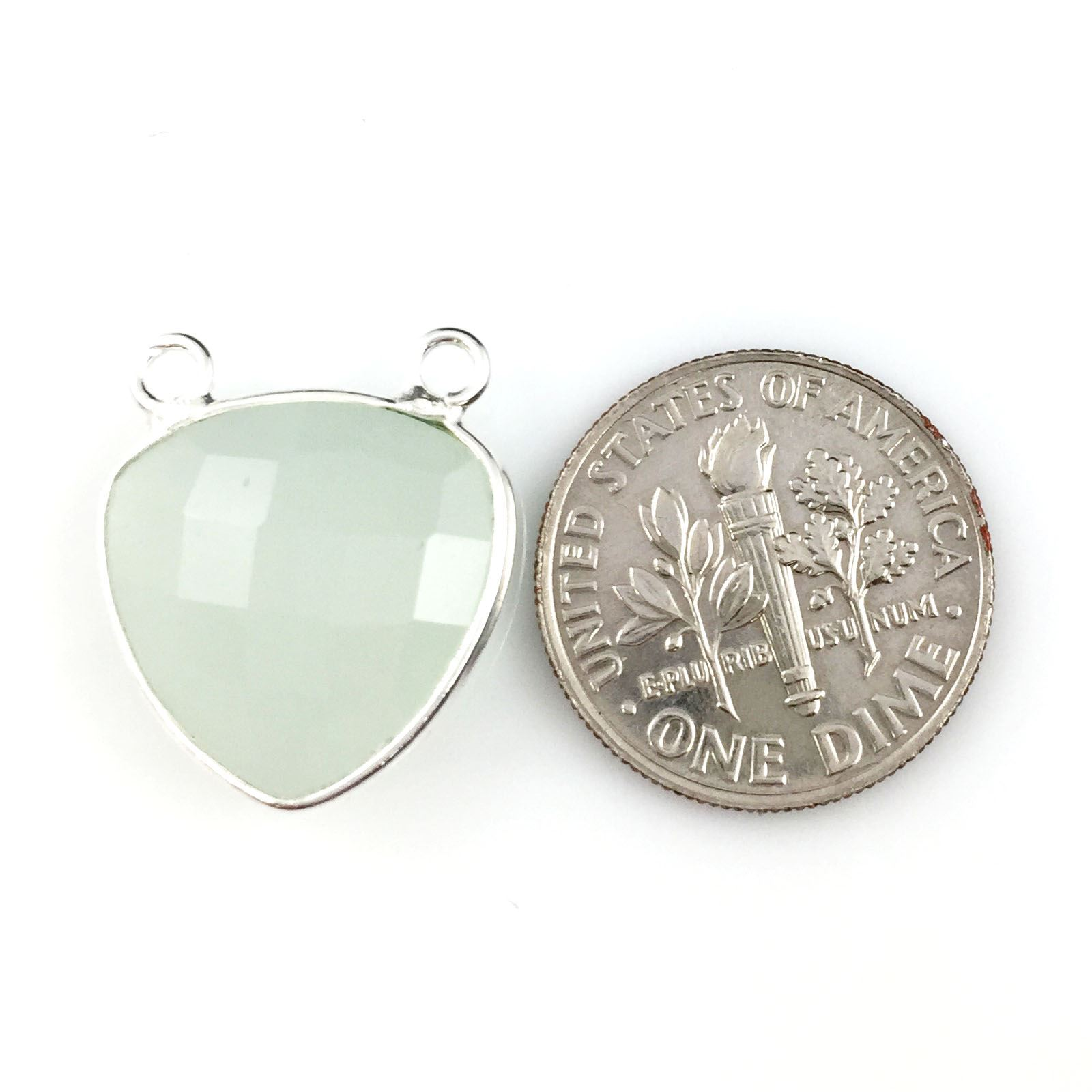 Bezel Gemstone Connector Pendant - Aqua Chalcedony - Sterling Silver - Small Trillion Shaped Faceted - 15mm - 1 piece