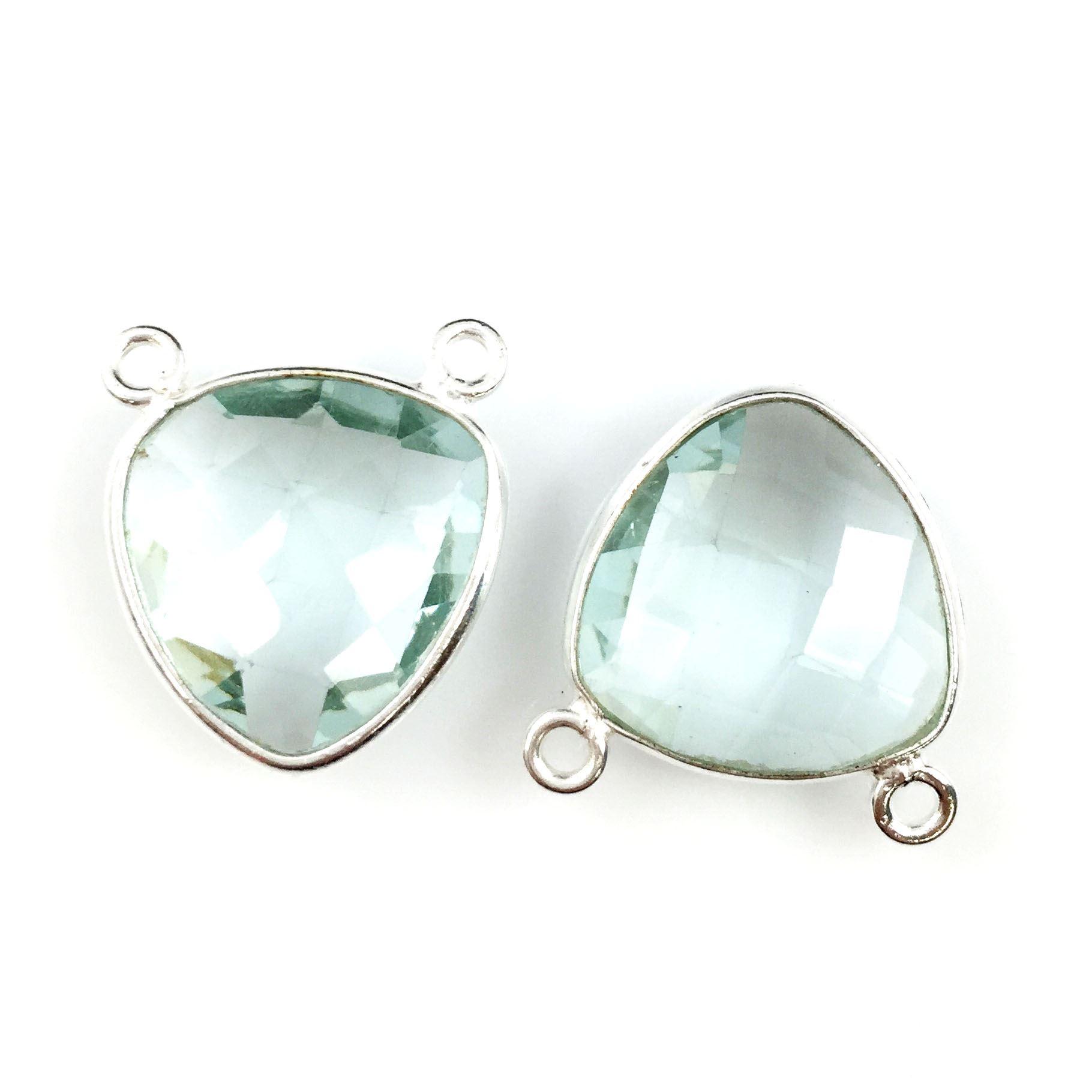 Bezel Gemstone Connector Pendant - Aqua Quartz - Sterling Silver - Small Trillion Shaped Faceted - 15mm - 1 piece