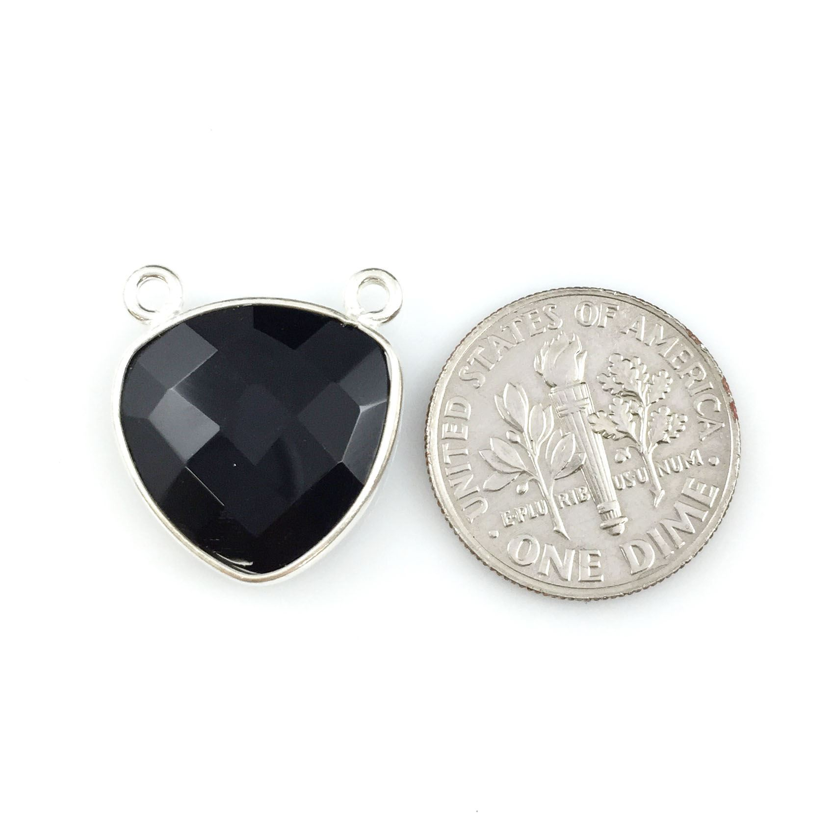 Bezel Gemstone Connector Pendant - Black Onyx - Sterling Silver - Small Trillion Shaped Faceted - 15mm - 1 piece