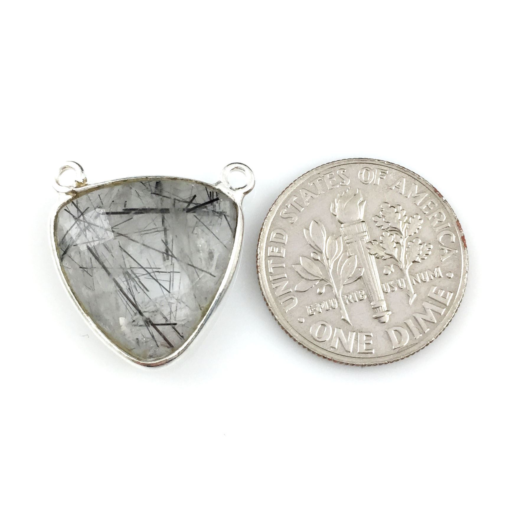 Bezel Gemstone Connector Pendant - Black Rutilated Quartz- Sterling Silver - Small Trillion Shaped Faceted - 15mm - 1 piece