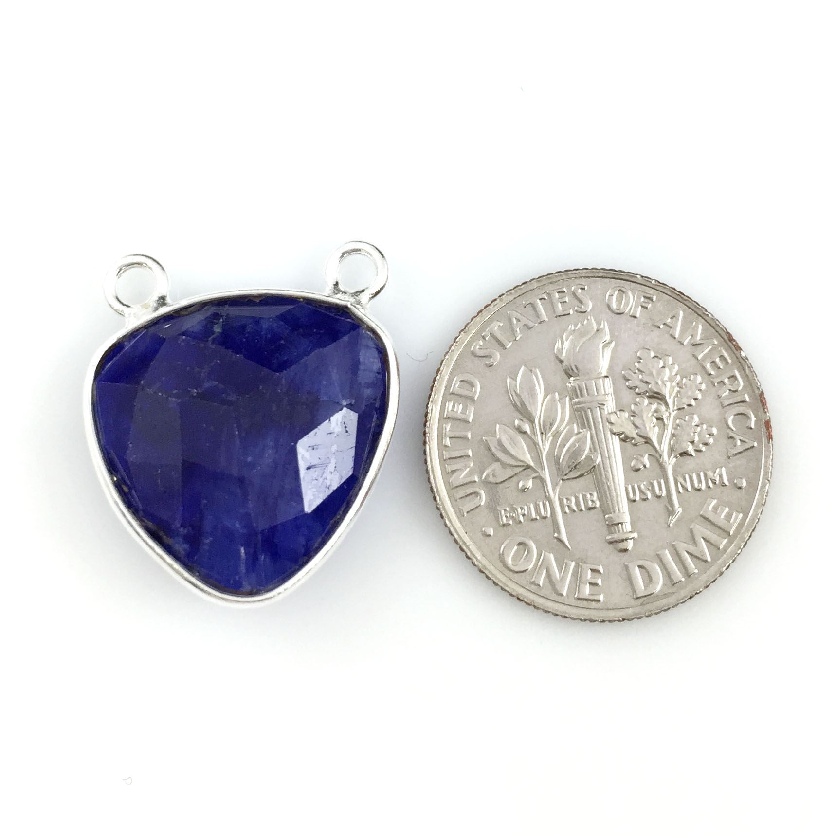 Bezel Gemstone Connector Pendant - Blue Sapphire Dyed- Sterling Silver - Small Trillion Shaped Faceted - 15mm - 1 piece
