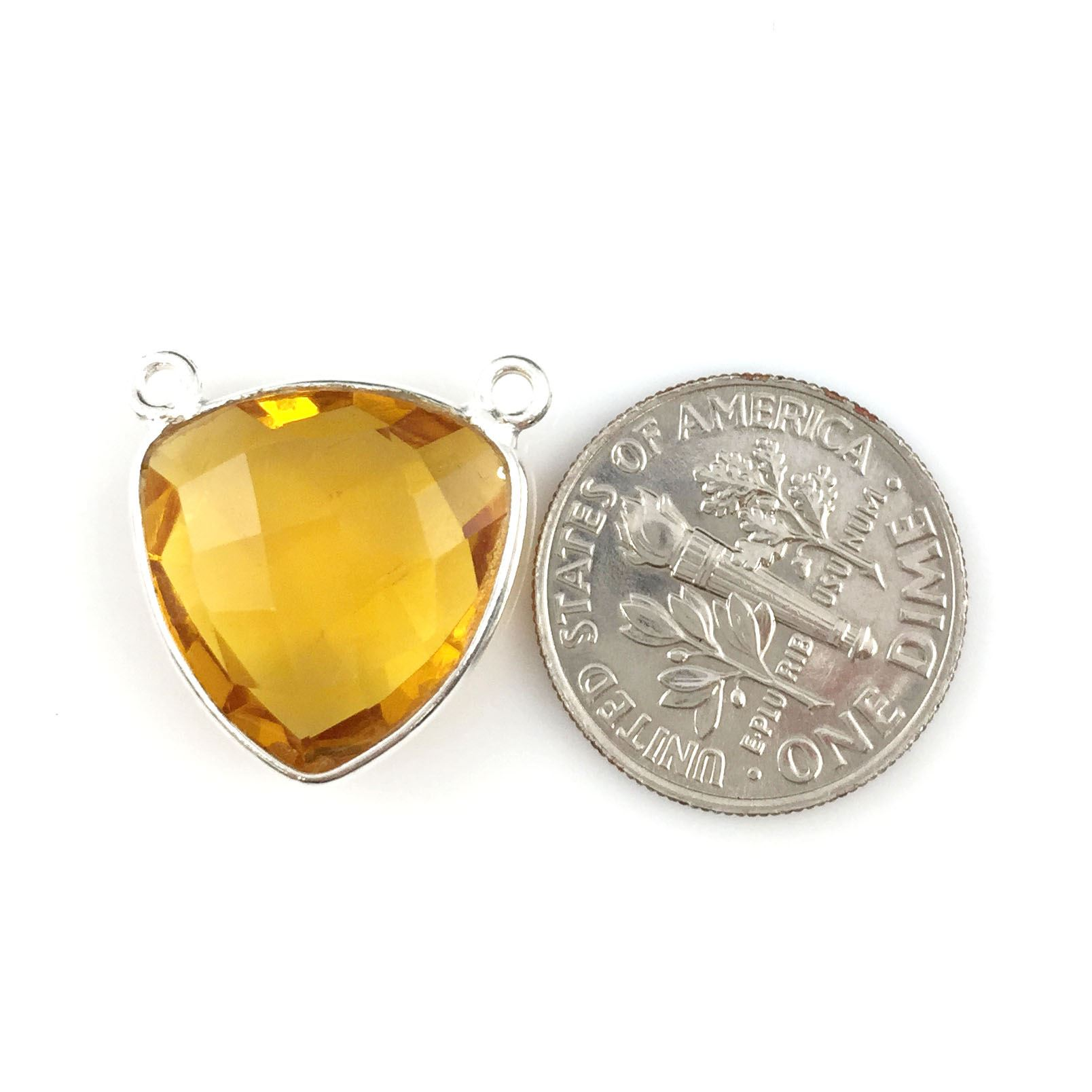 Bezel Gemstone Connector Pendant - Citrine Quartz - Sterling Silver - Small Trillion Shaped Faceted - 15mm - 1 piece
