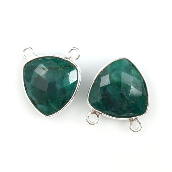 Bezel Gemstone Connector Pendant - Emerald Dyed - Sterling Silver - Small Trillion Shaped Faceted - 15mm - 1 piece