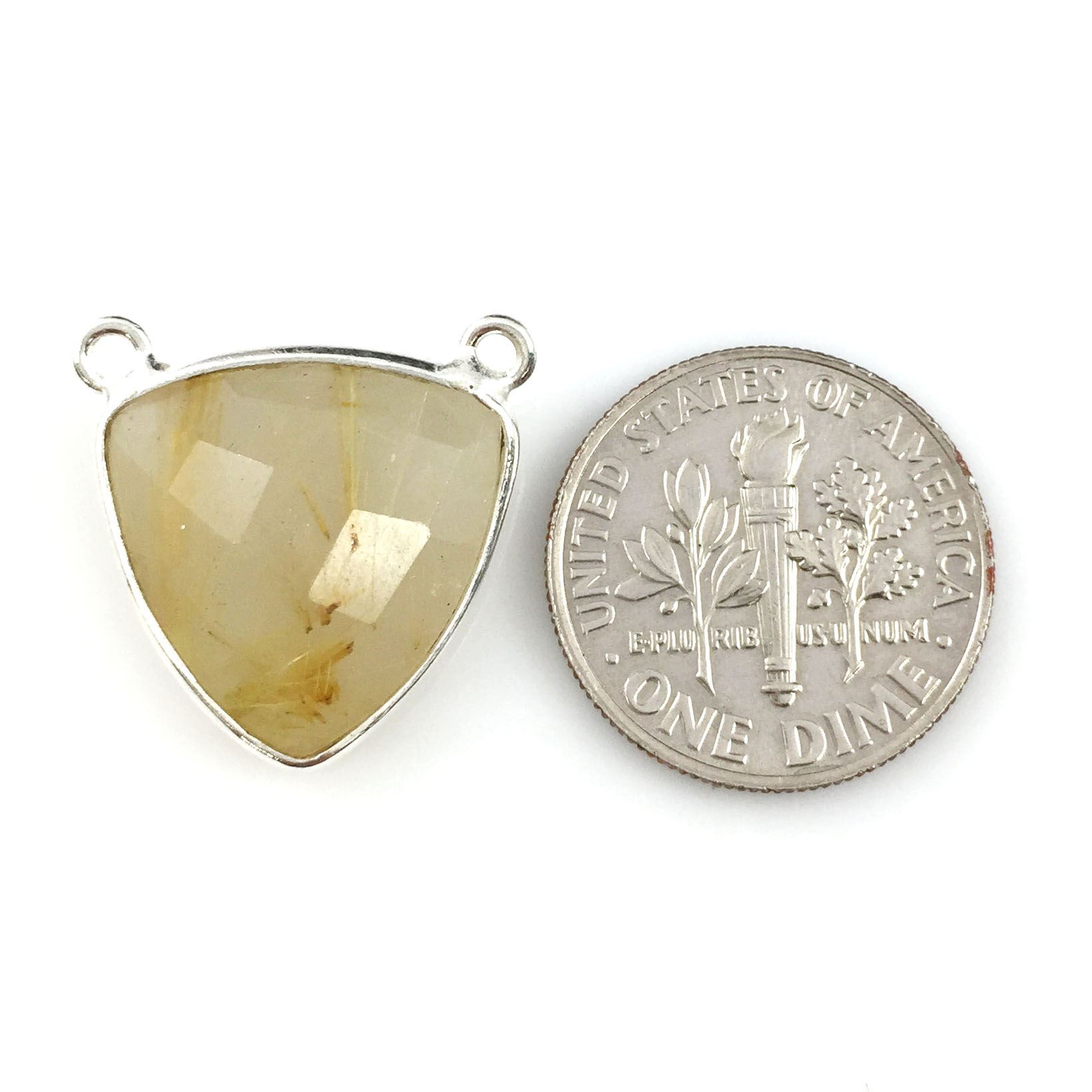 Bezel Gemstone Connector Pendant - Gold Rutilated Quartz - Sterling Silver - Small Trillion Shaped Faceted - 15mm - 1 piece