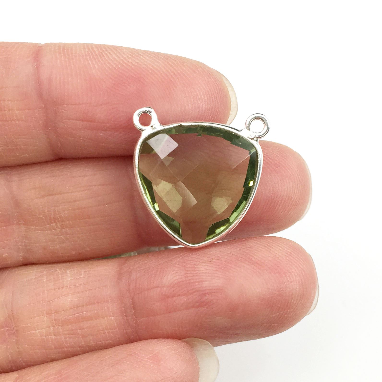 Bezel Gemstone Connector Pendant - Green Amethyst Quartz - Sterling Silver - Small Trillion Shaped Faceted - 15mm - 1 piece