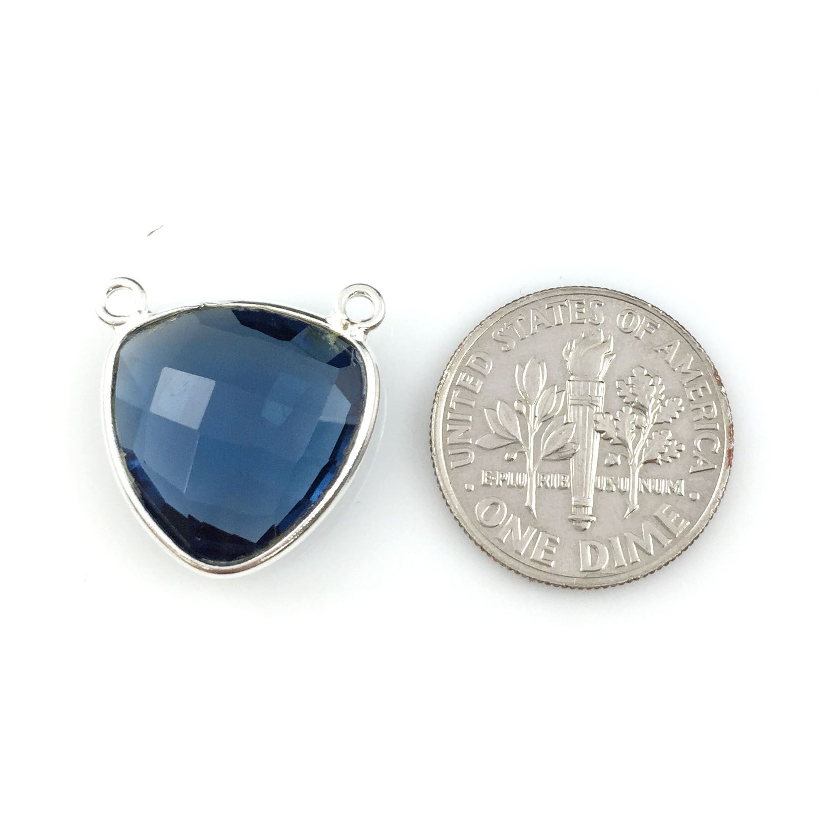 Bezel Gemstone Connector Pendant - Iolite Quartz - Sterling Silver - Small Trillion Shaped Faceted - 15mm - 1 piece