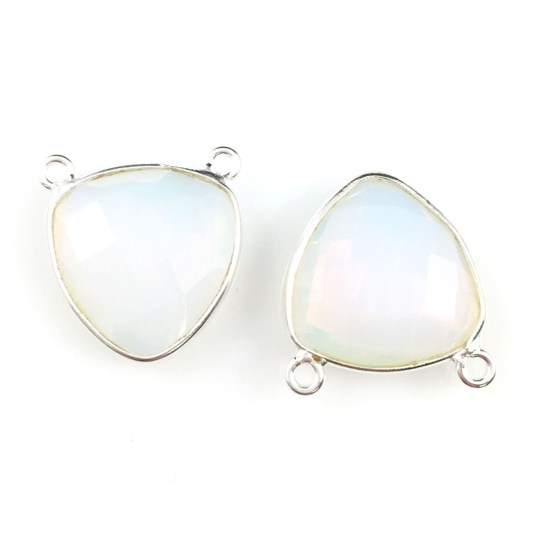 Bezel Gemstone Connector Pendant - Opalite Quartz - Sterling Silver - Small Trillion Shaped Faceted - 15mm - 1 piece