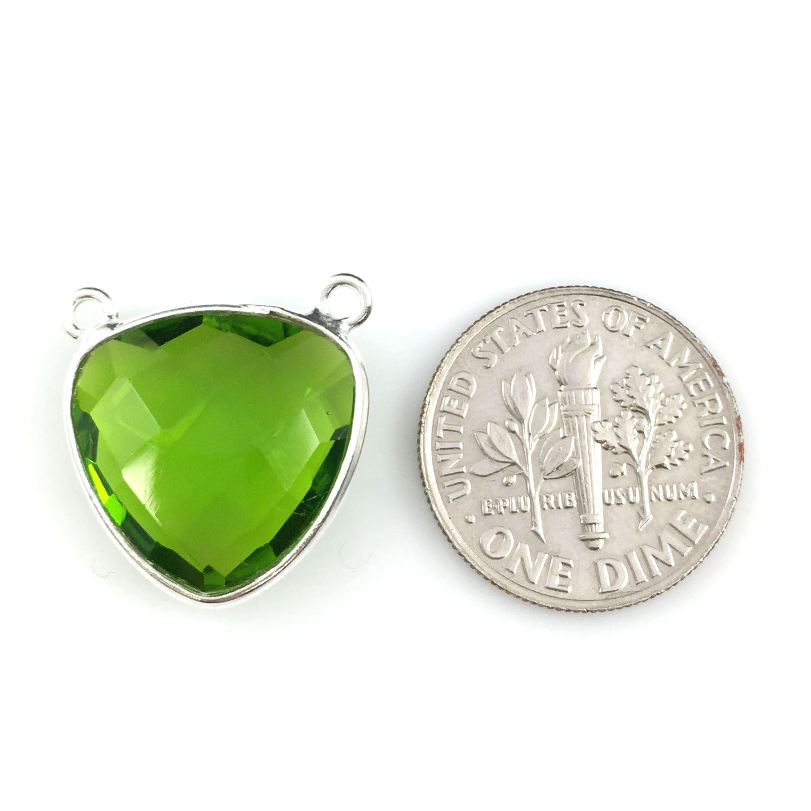 Bezel Gemstone Connector Pendant - Peridot Quartz - Sterling Silver - Small Trillion Shaped Faceted - 15mm - 1 piece