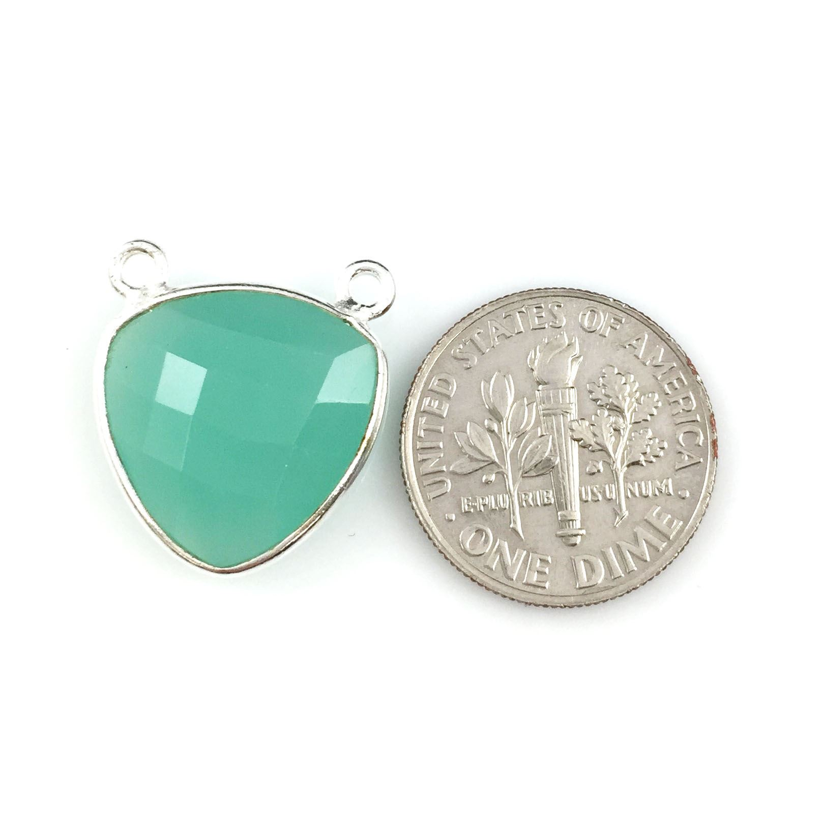 Bezel Gemstone Connector Pendant - Peru Chalcedony- Sterling Silver - Small Trillion Shaped Faceted - 15mm - 1 piece