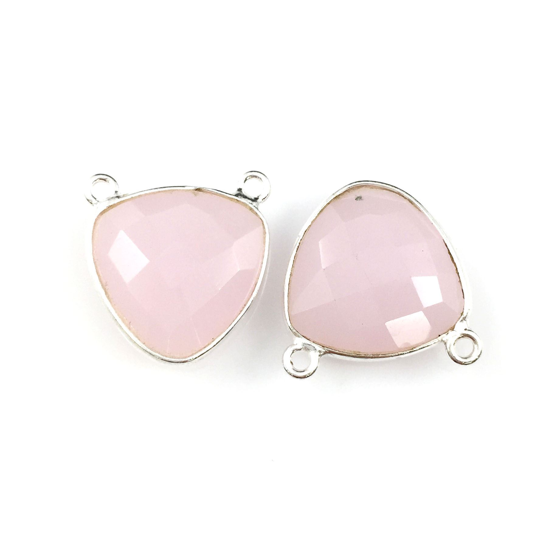 Bezel Gemstone Connector Pendant - Pink Chalcedony- Sterling Silver - Small Trillion Shaped Faceted - 15mm - 1 piece