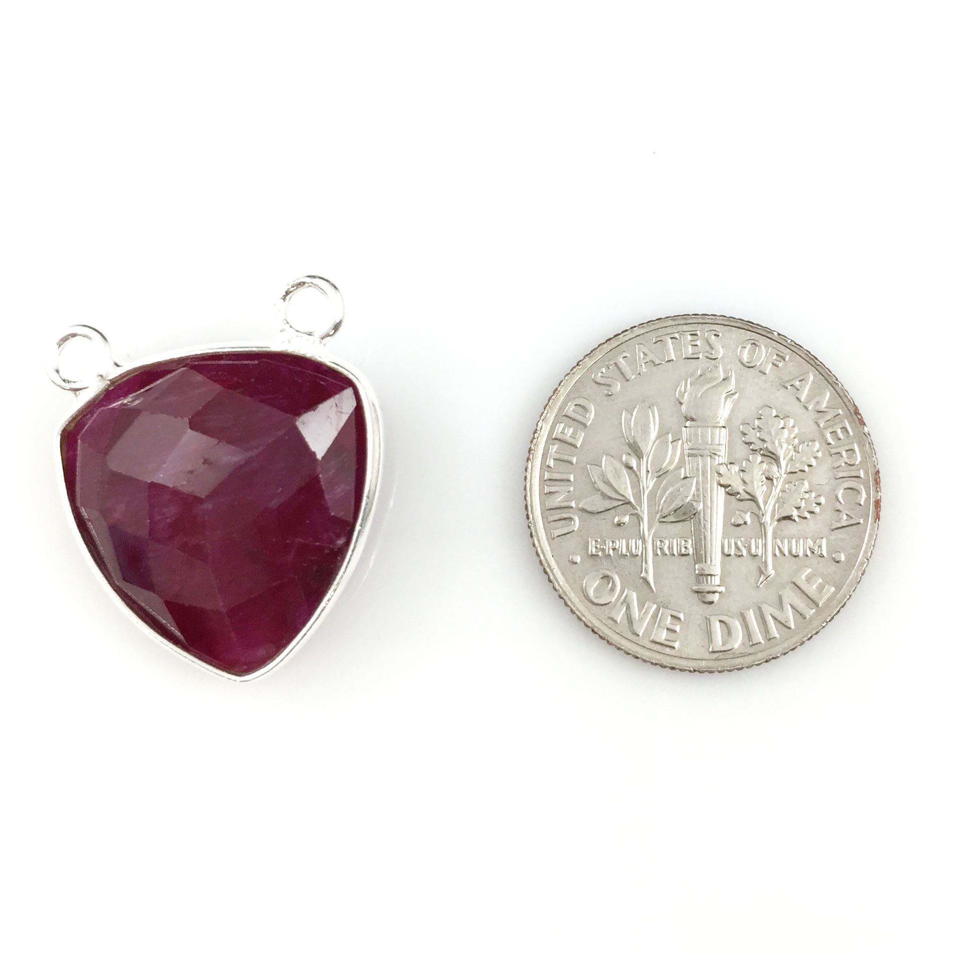 Bezel Gemstone Connector Pendant - Ruby Dyed - Sterling Silver - Small Trillion Shaped Faceted - 15mm - 1 piece