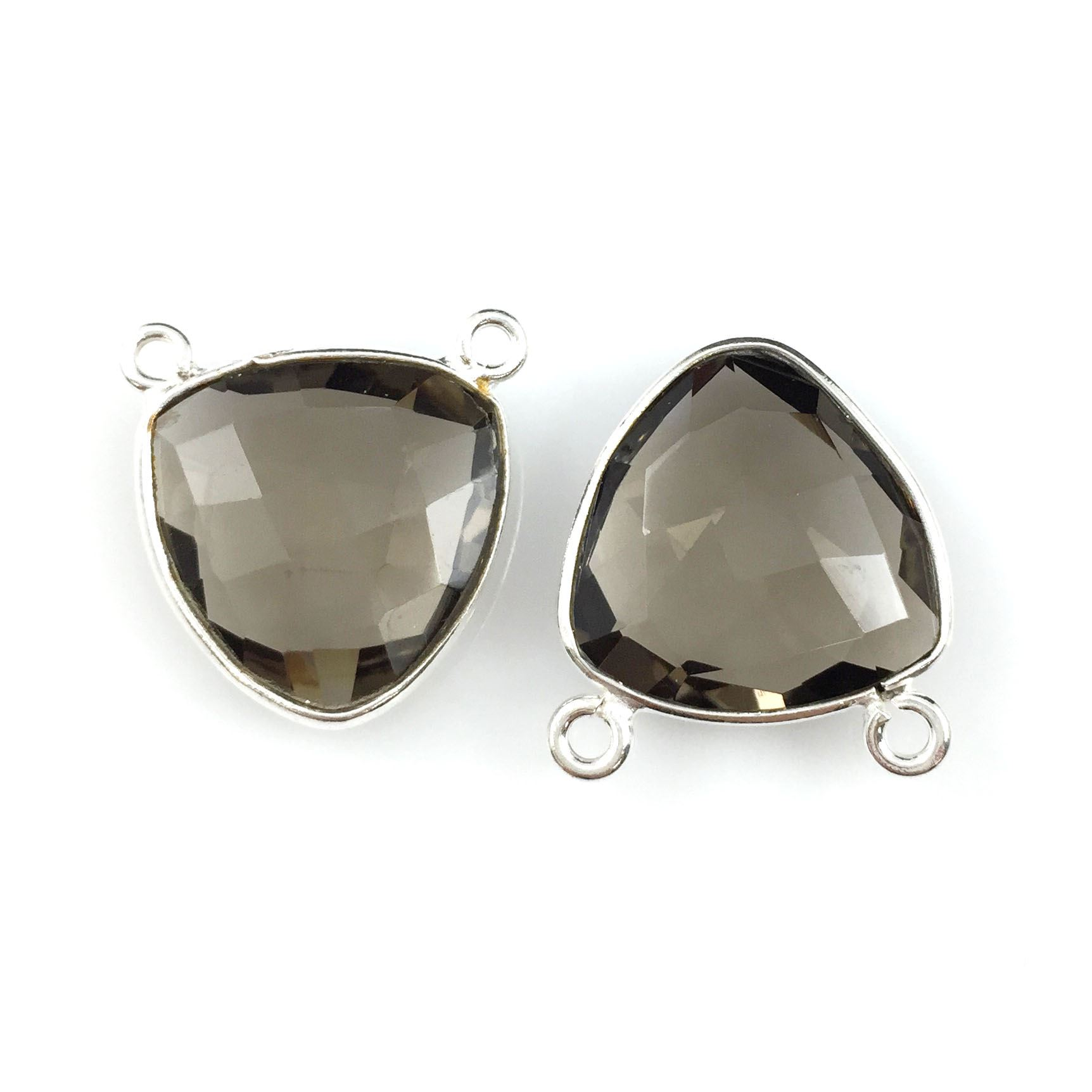 Bezel Gemstone Connector Pendant - Smokey Quartz- Sterling Silver - Small Trillion Shaped Faceted - 15mm - 1 piece