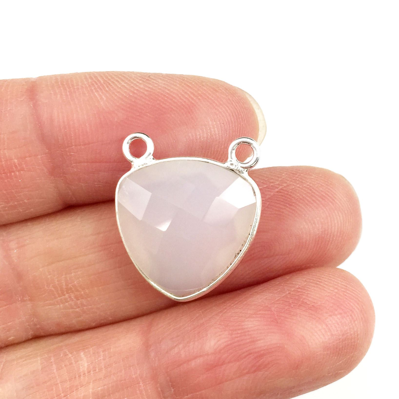 Bezel Gemstone Connector Pendant - White Chalcedony- Sterling Silver - Small Trillion Shaped Faceted - 15mm - 1 piece