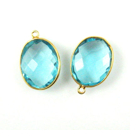 Bezel Gemstone Pendant - 14x18mm Faceted Oval - Blue Topaz Quartz (Sold per 2 pieces)