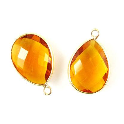 Bezel Gemstone Pendant - 13x18mm Faceted Pear Shape - Citrine Quartz (Sold per 2 pieces)