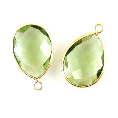 Bezel Gemstone Pendant - 13x18mm Faceted Pear Shape - Green Amethyst Quartz (Sold per 2 pieces)