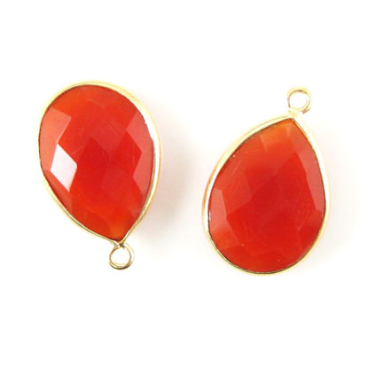 Bezel Gemstone Pendant - 13x18mm Faceted Pear Shape - Carnelian  (Sold per 2 pieces)