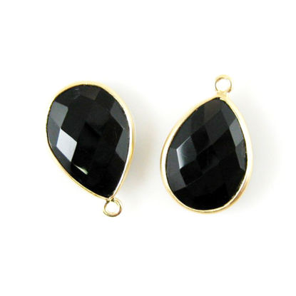 Bezel Gemstone Pendant - 13x18mm Faceted Pear Shape - Black Onyx   (Sold per 2 pieces)