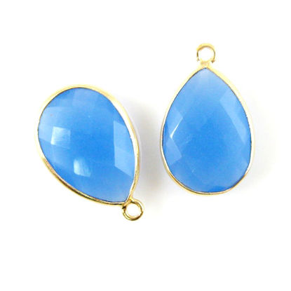 Bezel Gemstone Pendant - 13x18mm Faceted Pear Shape - Blue Chalcedony  (Sold per 2 pieces)
