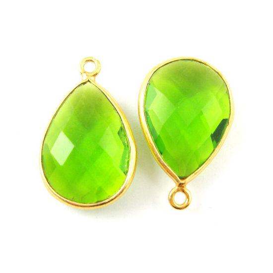 Bezel Gemstone Pendant - 22K Gold Plated Vermeil- 18mm Faceted Pear Shape-Bezel Gemstone-Bezel Charm - Peridot Quartz- August Birthstone (Sold per 2 pieces)
