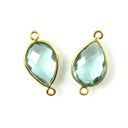 Bezel Gemstone Links - 10x14mm Faceted Pear - Aqua Quartz  (Sold per 2 pieces)