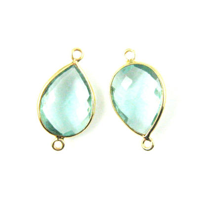 Bezel Gemstone Links - 13x18mm Faceted Pear - Aqua Quartz   (Sold per 2 pieces)