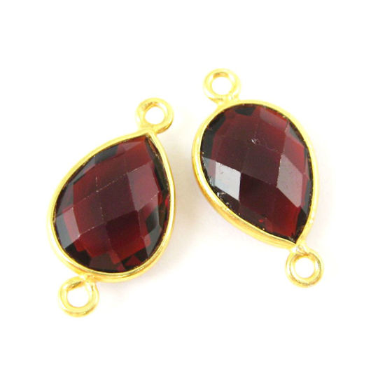 Bezel Gemstone Links- 10x14mm Faceted Pear - Garnet Quartz- January Birthstone  (Sold per 2 pieces)