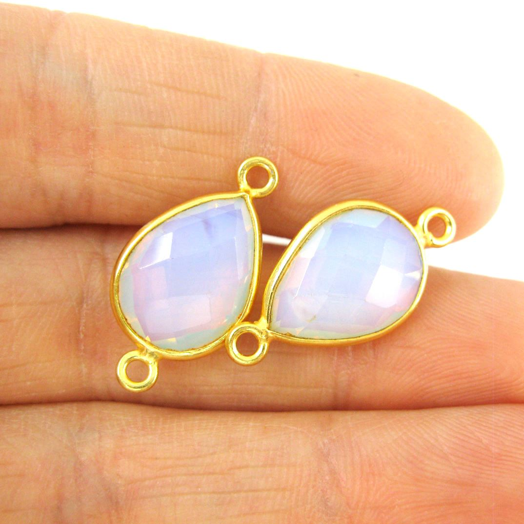 Bezel Gemstone Links- 10x14mm Faceted Pear - Opalite Quartz- October Birthstone  (Sold per 2 pieces)