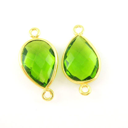 Bezel Gemstone Links- 10x14mm Faceted Pear - Peridot Quartz- August Birthstone  (Sold per 2 pieces)