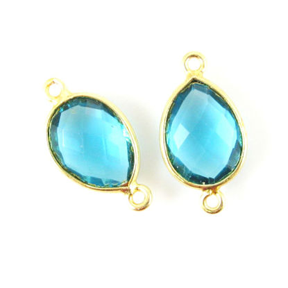 Bezel Gemstone Links- 10x14mm Faceted Pear - Blue Quartz  (Sold per 2 pieces)