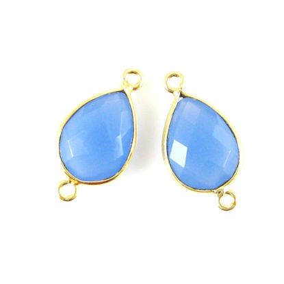 Bezel Gemstone Links- 10x14mm Faceted Pear - Blue Chalcedony (Sold per 2 pieces)