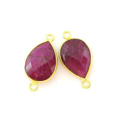 Bezel Gemstone Links- 10x14mm Faceted Pear - Ruby Dyed - July Birthstone (Sold per 2 pieces)