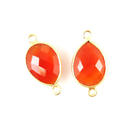 Bezel Gemstone Links - 10x14mm Faceted Pear - Carnelian  (Sold per 2 pieces)