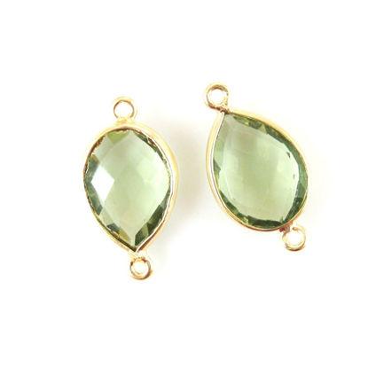 Bezel Gemstone Links- 10x14mm Faceted Pear - Green Amethyst Quartz  (Sold per 2 pieces)