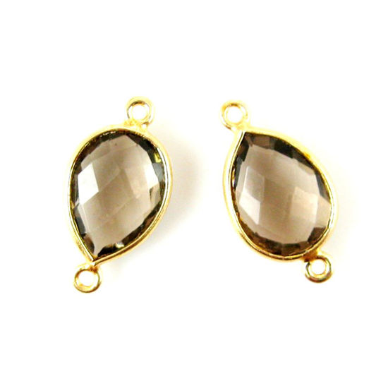 Bezel Gemstone Links - 10x14mm Faceted Pear - Smokey Quartz (Sold per 2 pieces)