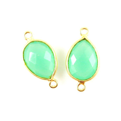 Bezel Gemstone Links- 10x14mm Faceted Pear - Prehnite Chalcedony (Sold per 2 pieces)